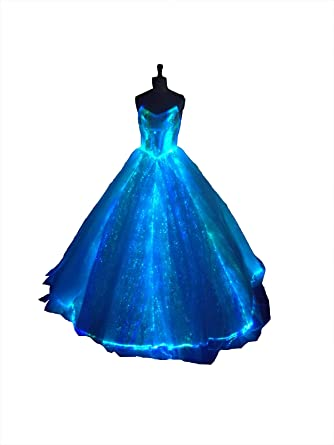 Luxury LED Wedding Dress Light Up Bridal Gown Fiber Optic Formal Dresses  Luminous Banquet Dresses White at Amazon Women s Clothing store  162820e9f411