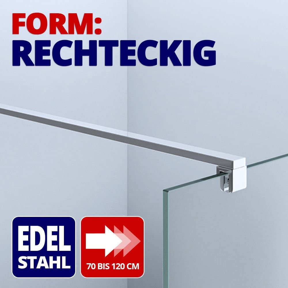 Paroi de douche pare douche verre de securite 10mm barre de stabilisation rectangulaire douche a l italienne Bremen 2VS 100x200