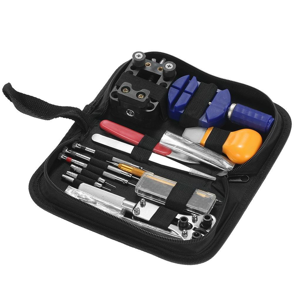 SODIAL 146PCS Professional Watch Repair Tool Kit Watchmaker Case Opener Link Remover Spring Bar Set Carry Bag
