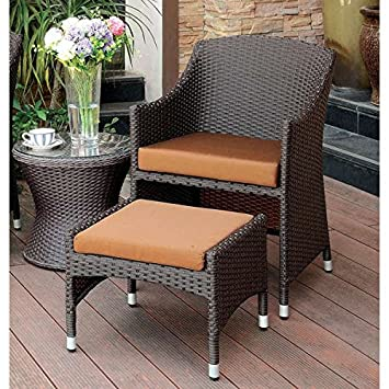 Olivanne 2 Piece Espresso Wicker Arm Chair And Nesting Ottoman Set