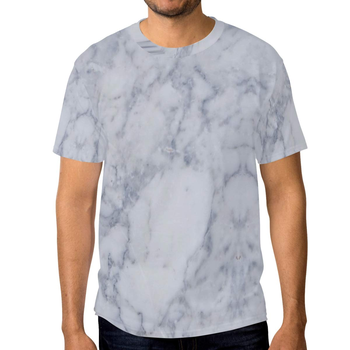 Horatiood Huberyyd Abstract Marble Mens T Shirts Graphic Funny Body Print Short T-Shirt Unisex Pullover Blouse