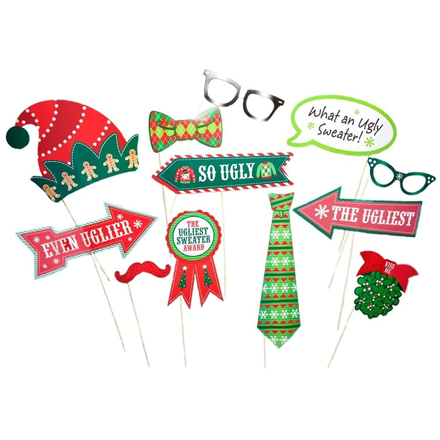 Ugly Sweater Party Photo Booth Stick Props