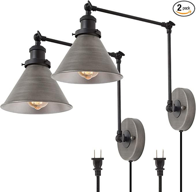 Lnc Swing Arm Wall Lamp Modern Plug In Wall Sconce Hardwired Adjustable Farmhouse Wall Light Fixture Brushed Antique Silver 2 Pack Amazon Com