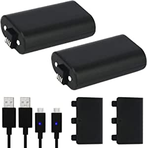 Xbox One Controller Battery Pack, YCCSKY 2 Pack 1200mAh Xbox Rechargeable Battery Pack with Cover and 5FT Micro USB Charging Cable with LED Indicator Kit Xbox One Play and Charge Kit for Xbox One X/S