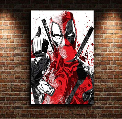 NATVVA Wall Art Painting Canvas Deadpool Movie Posters Modern Art Picture Printed Gifts Artist Home Decor Artwork for Living Room Bed Room Wall Decoration No Frame