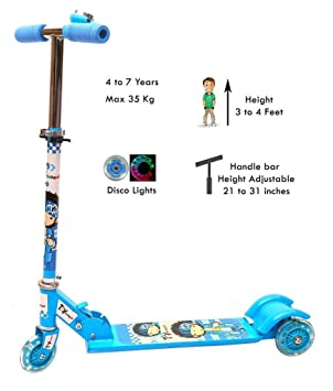 Raawan Kids 3 Wheel Foldable Scooter Cycle with Height Adjustment & Led Light on Wheel(Break…