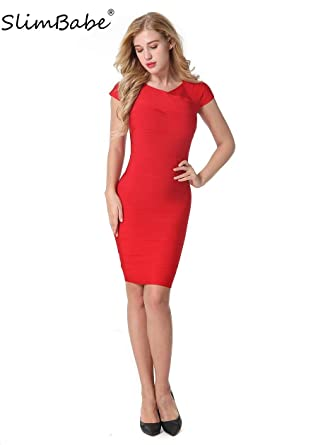 SlimBabe Women Red Bodycon Dresses Club Vestidos Dress Party Bandage Dress Rayon Prom Sexy Bandage Bodycon