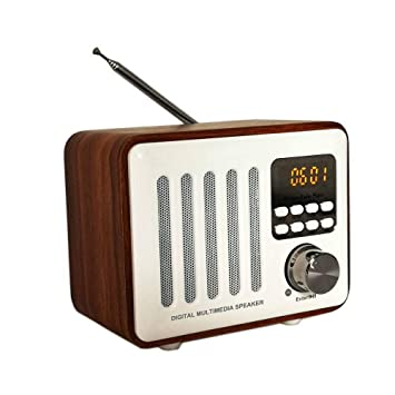 Viento Retro Caja De Madera Altavoz Bluetooth Radio Tarjeta ...