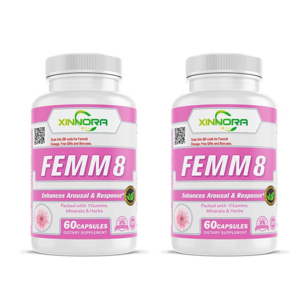 XINNORA Femm8 - Natural Female Sexual Enhancement & Libido Supplement for Women - Enhances Arousal & Response, Increases Stamina & Energy, Boosts Sex Drive, Better Sexual Health - 60 Caps x 2 BTL