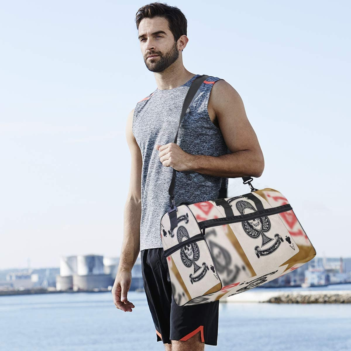 MUOOUM Clue Ace Playing Cards Large Duffle Bags Sports Gym Bag with Shoes Compartment for Men and Women
