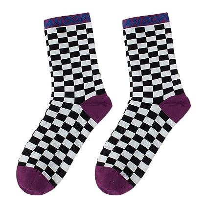 Ouyeye Tablero a Cuadros Carta en Tubo algodón Calcetines de Skate Hombres y Mujeres Medias código