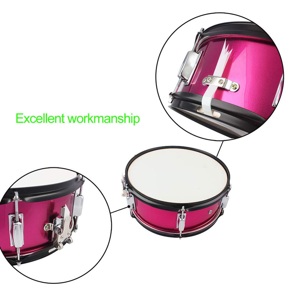 MG.QING Small Snare Drum 14 inch Professional Snare Drum Student Band with Drumsticks, Straps, Tuning Key,Pink by MG.QING (Image #4)