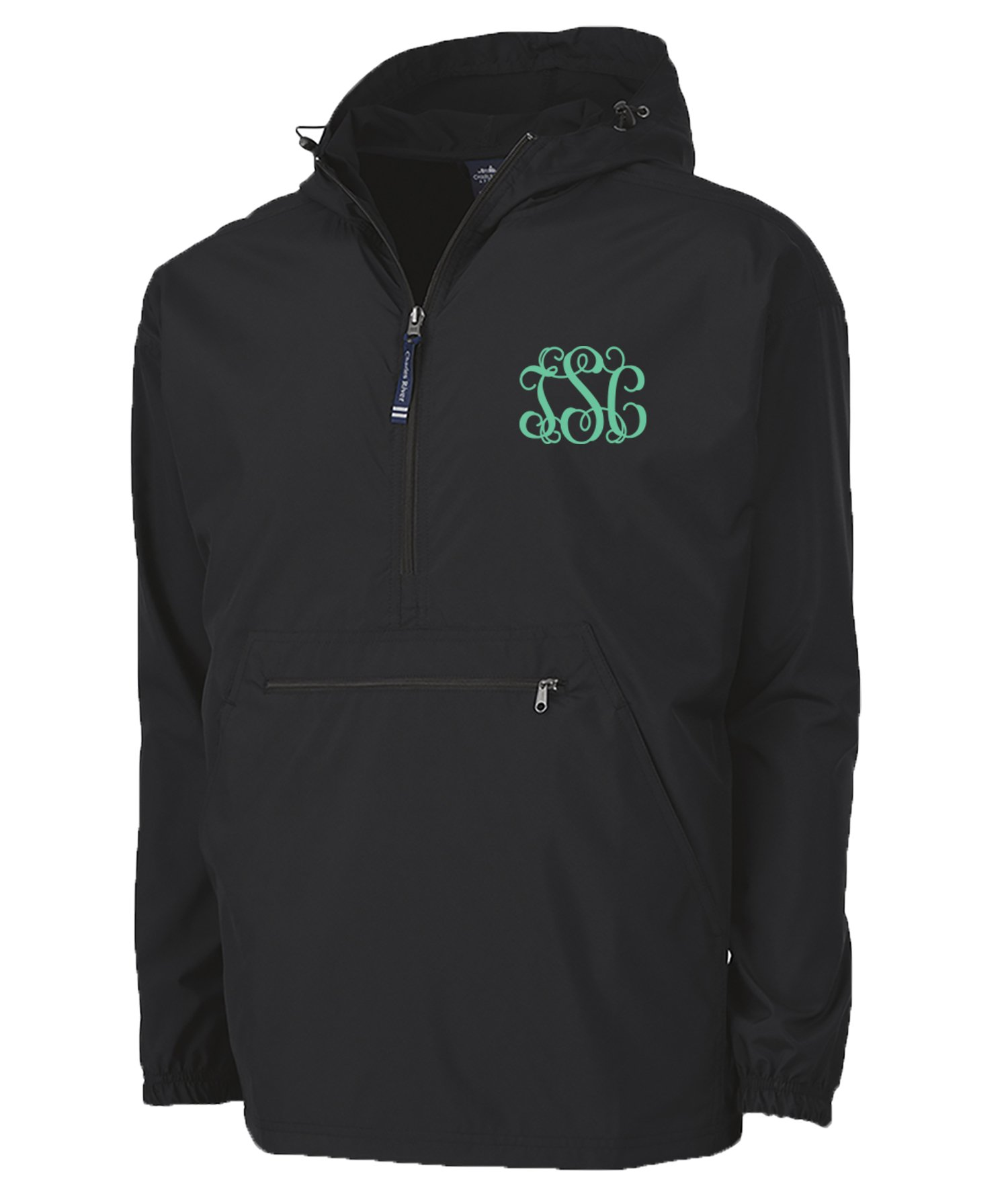 Personalized Charles River Apparel Monogrammed Pack-N-Go Windbreaker Pullover Jacket-Black-Large