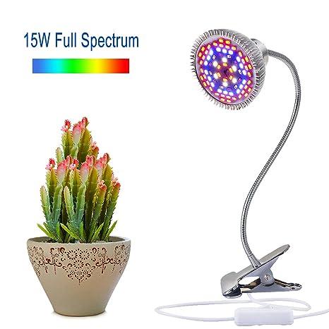 Amazon.com : LED Grow Light, Aokey 15W Desk Clamp Plant Grow Lamp UV ...