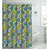 Creative Home Ideas Oxford Weave Textured 13-Piece Shower Curtain with Metal Roller Hooks, Olina Green