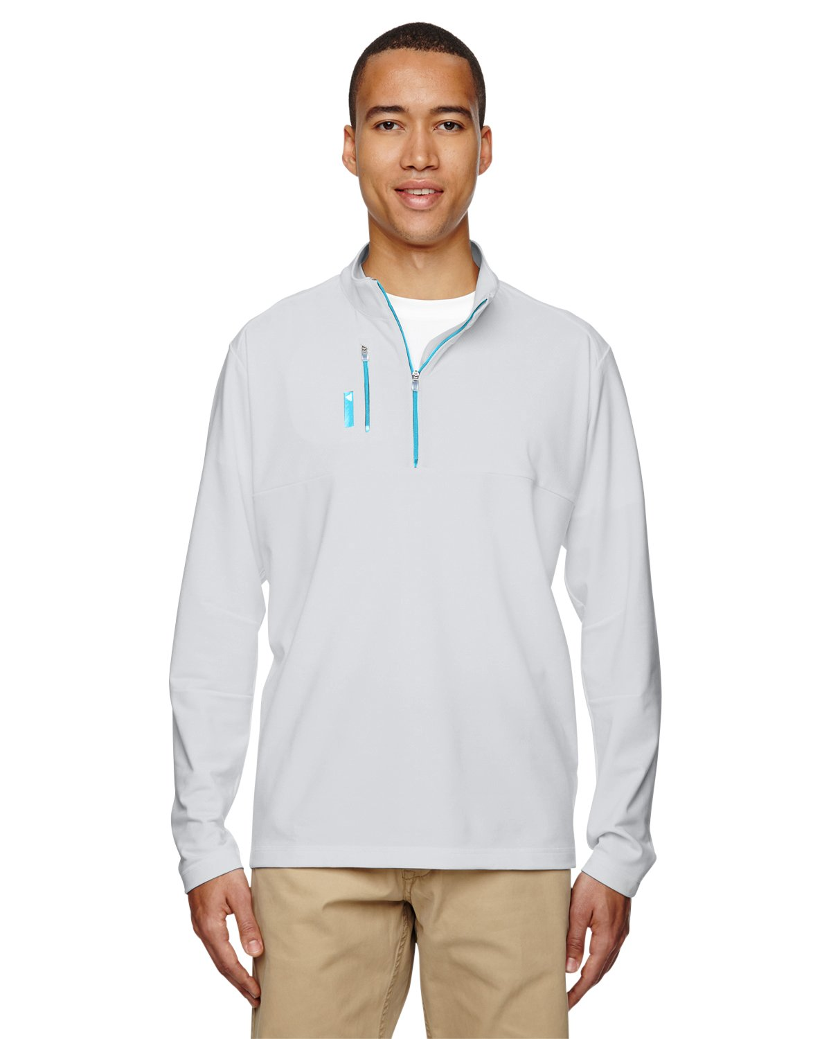 adidas Men's 1/4 Zip Pullover, Clear Onix/Bright Cyan, Small