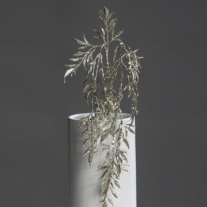 Bambuszweig Glitzerzweig Bambus Glitzer Gesteck Weihnachten platin-glitter 50 cm