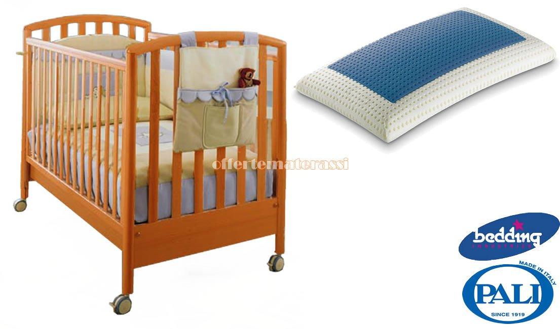 Kinderbett Pali Ciak Kirsche + Kissen Bedding Blue Classic aus Memory Foam