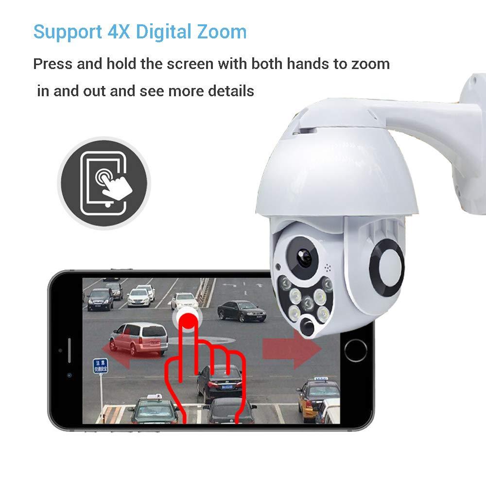 1080P 2MP Full Color 2.5 Pulgadas C/ámaras de Seguridad Inal/ámbrica PTZ C/ámara Vigilancia 2 V/ías Audio y Detecci/ón de Movimiento IP CCTV Sistema Seguridad para Interior//Exterior 4X Zoom Blanco 1