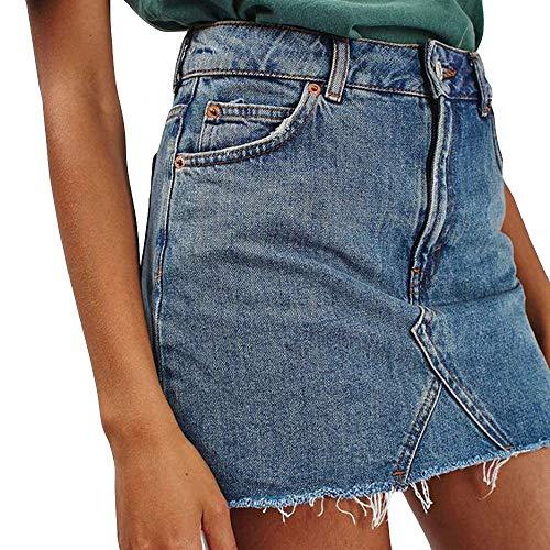 UOFOCO Short Jean Skirt Women's High Waist Casual Denim Skirt Distressed Bodycon