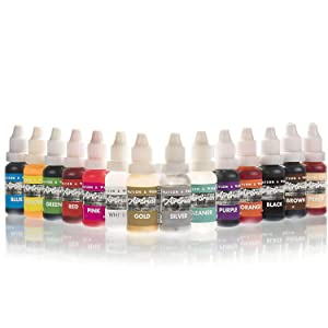 Airbrush Cake Decorating Colors 13 x 14ml Complete Set of Watson & Webb Pro Liquid Food Paint + 1 Airbrush Cleaner Vegan Friendly Concentrated Formula