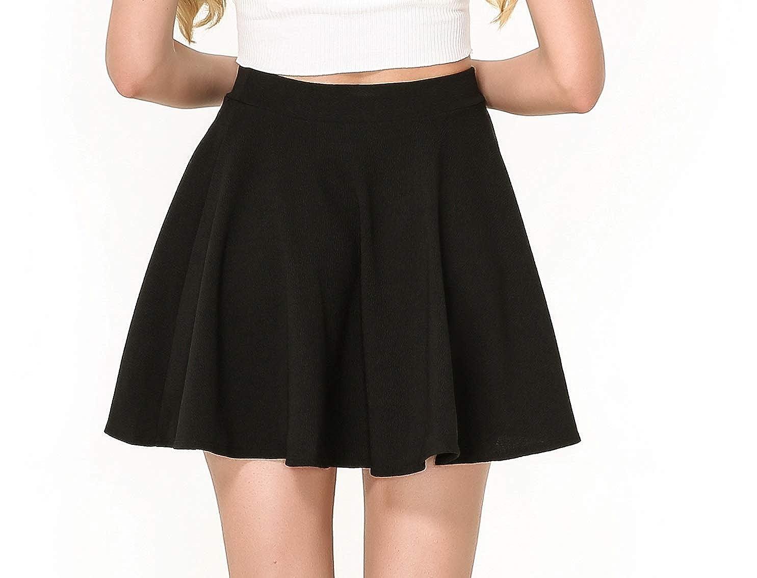 78c9a569f53e0 Amazon.com  Moxeay Women s Stretch High Waist A Line Pleated Flared Mini  Skater Skirt  Clothing