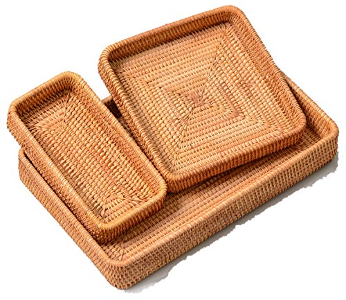 Mevimoi Via Moi Rattan Rectangular Serving Tray Set 3 Willow Storage Basket for Eating Bread Tea Fruits