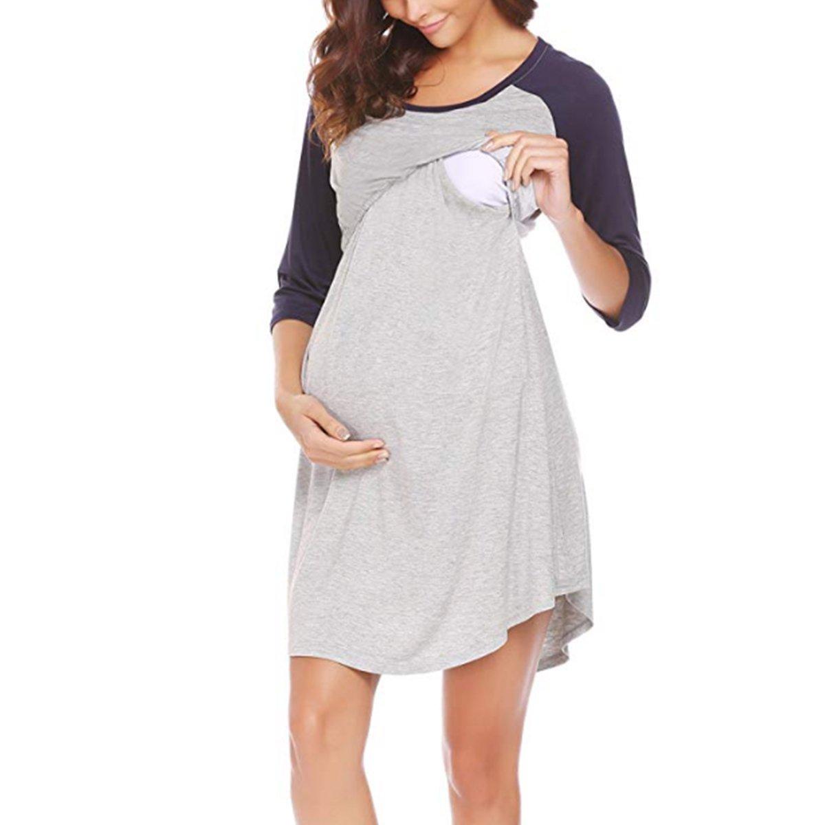 Yinuoday Women's Maternity Dress 3/4 Sleeve Nursing Nightgown for Breastfeeding Sleepwear M-XXL (Navy Blue, XL)