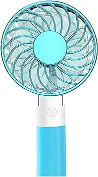 YEWANG Cable de Carga USB del Ventilador pequeño de Mano Mano Que sostiene el Ventilador silencioso eléctrico del Dormitorio de Escritorio Plegable portátil del Estudiante (Azul, Rosa) (Color : Azul): Amazon.es: Electrónica