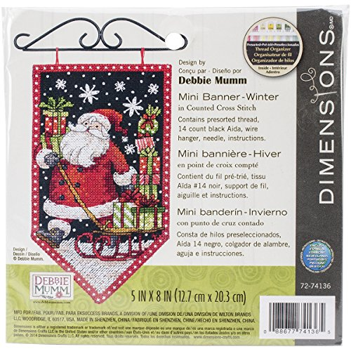 Dimensions Counted Cross Stitch Kit 'Winter Banner' DIY Christmas Decoration, 14 Count Black Aida, 5'' x 8'' Banner Counted Cross Stitch
