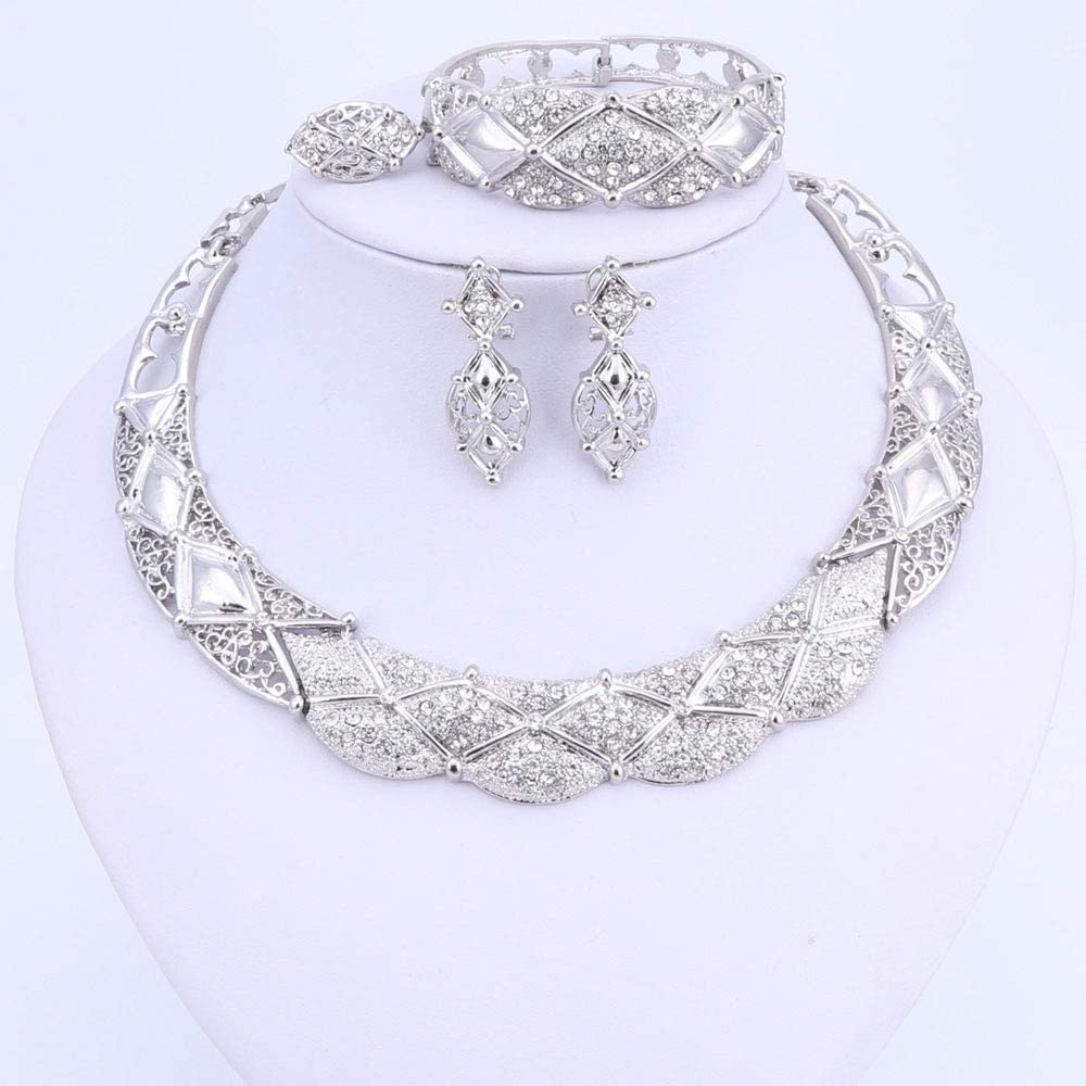 Brinperfk Africa Jewelry Sets Dubai Silver Color Jewelry Sets Nigerian Wedding African Beads Necklace Earrings Set