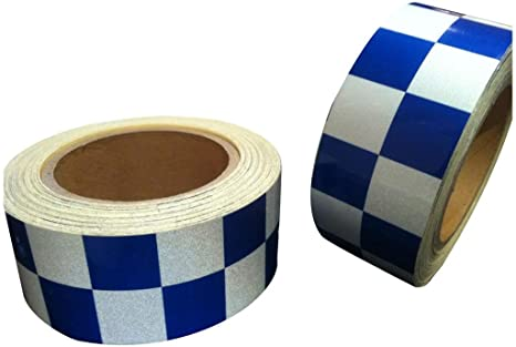WHITE REFLECTIVE CHEQUERED TAPE 50mm x 10m NEW HIGH INTENSITY BLUE