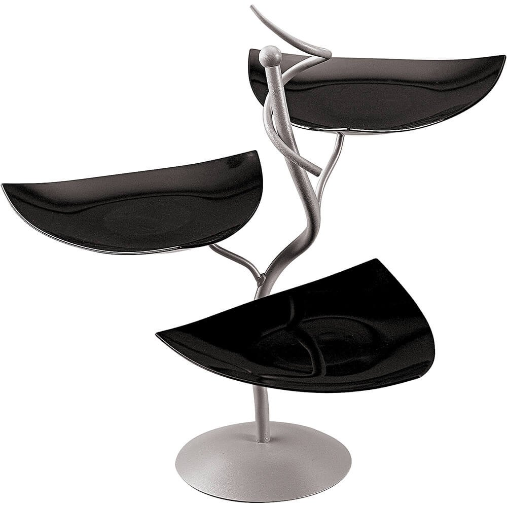 3-Tier Buffet Display and Bowls Color: Black