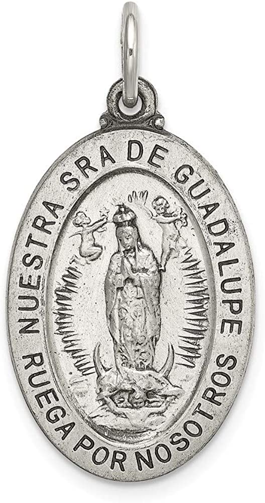 Sterling Silver Satin Antiqued Spanish Lady of Guadalupe Medal Pendant Solid 16 mm 33.5 mm Themed Pendants /& Charms Jewelry
