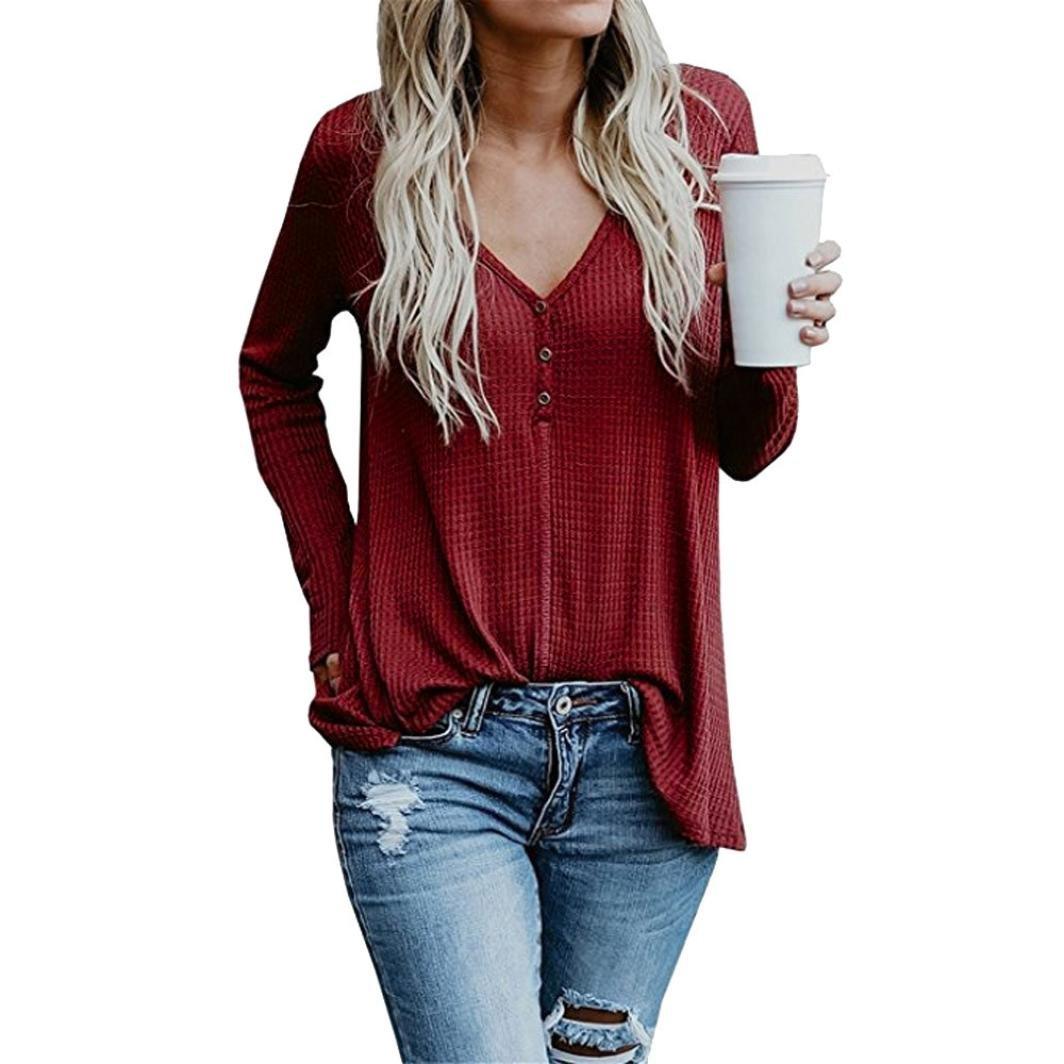 Amazon.com: bsgsh Womens Sexy botón Deep V-neck Henley Knit ...