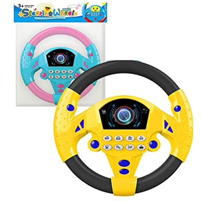 Wenasi Steering Wheel Toy, Funny Simulated Driving Steering Wheel with Sounds and Lights, Early Educational Toy for Toddlers: Toys & Games