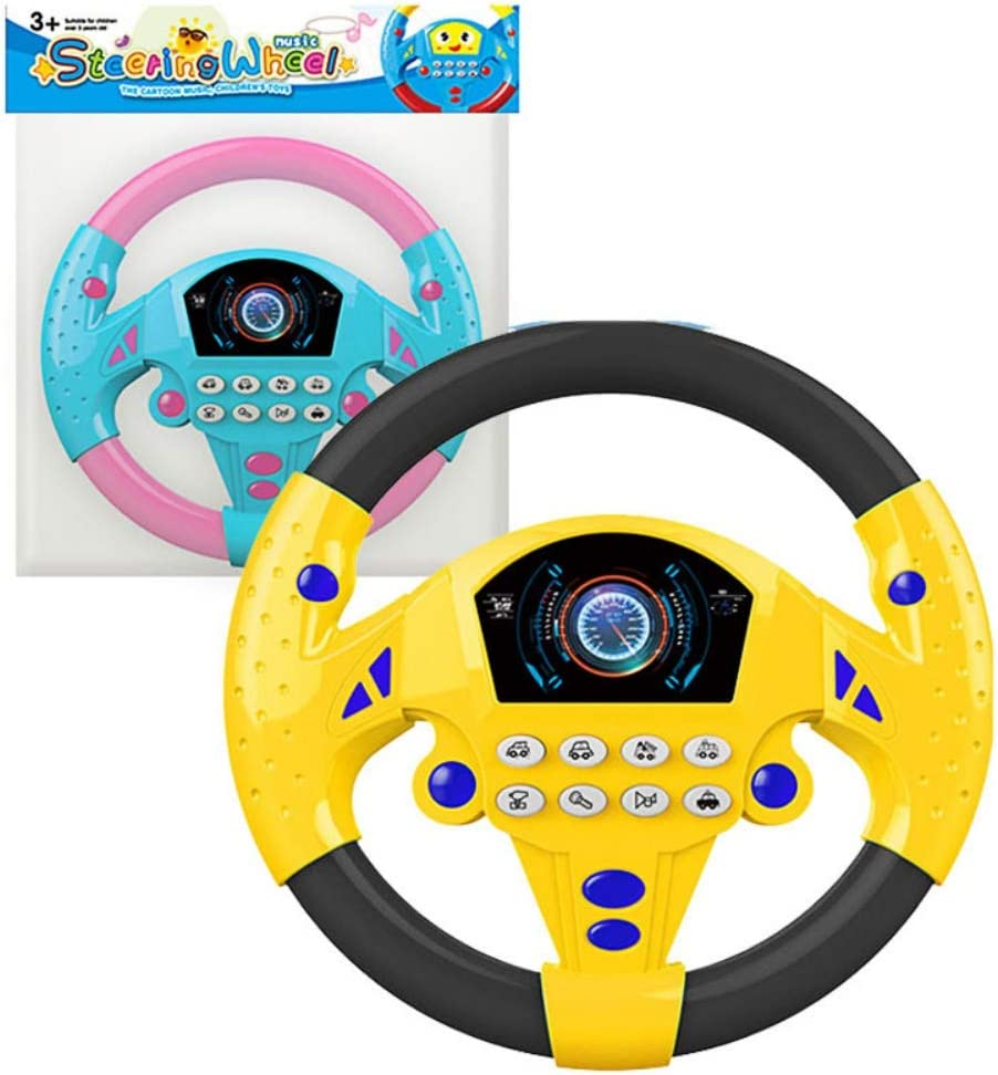 TEEKOO Baby Kids Steering Wheel Toys Interactive Car Toys Simulated Portable Driving Controller with Funny Sounding and Music for Children Home Use