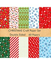 TUPARKA Christmas Pattern Paper Set, 14 x 21cm Decorative Paper for Card Making Scrapbook decoration