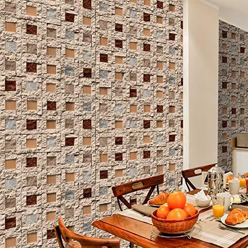 3114 Stone Brick Textured Wallpaper Roll,Beige/Brown/Tan Multi Brick Blocks Wallpaper Living Room Bedroom Kitchen Bathroom Bar Wall Decoration 20.8