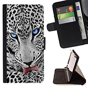 Momo Phone Case / Flip Funda de Cuero Case Cover - OJO AZUL SNOW LEOPARD - Apple Iphone 5C