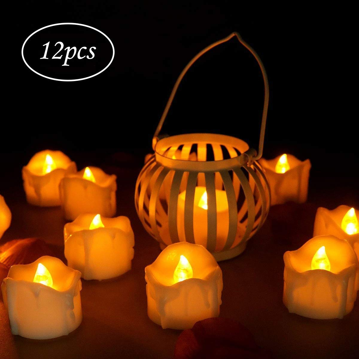 Battery Operated LED Tealights, KKTICK Flameless Tealight Candles with Timer, Fake Candles Flickering Lights for Wedding Birthday Christmas Party Celebration, 12 Pack