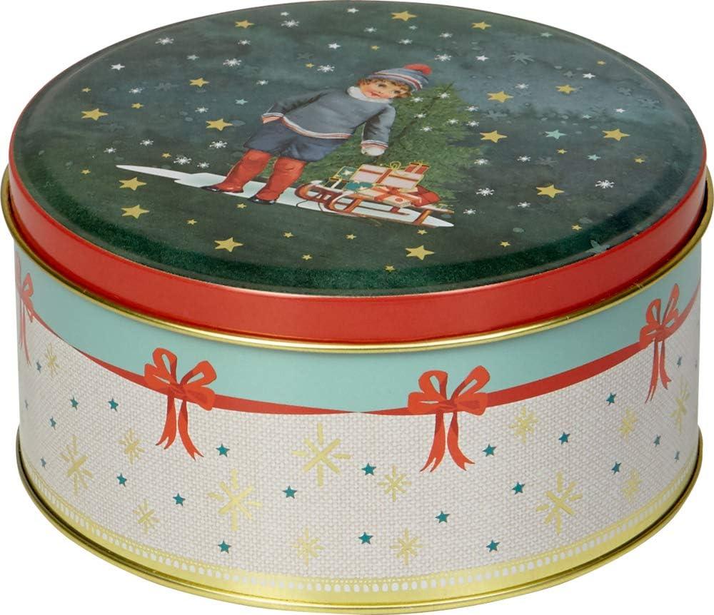 Seasons Greetings Lata de Metal Bonito Tiempo de Navidad A7cm D14 cm Aprox.: Amazon.es: Juguetes y juegos