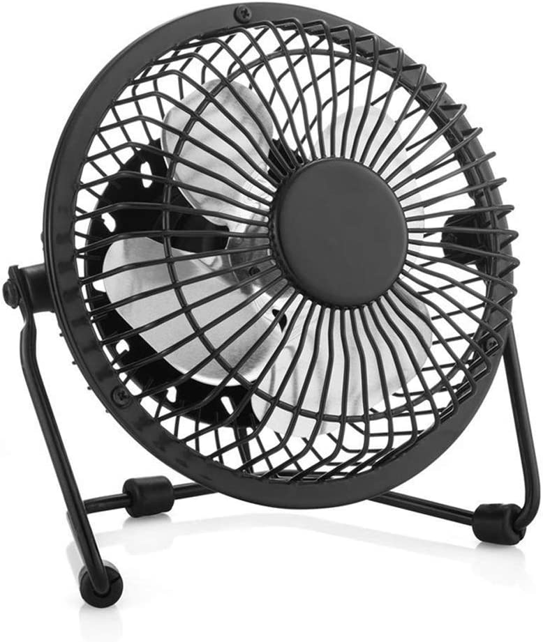 Mini USB Table Desk Personal Fan USB Tilting Desktop Cooling Fan with Metal Shell Ideal for Home Office Strong Wind,Quiet Operation,for Home Office. Color : Black, Size : One-Size