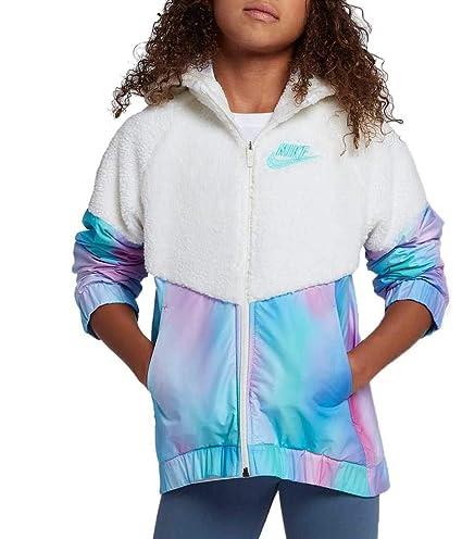 3579d9a1f Nike Girl's Sportswear Sherpa Unicorn Windrunner Jacket (White/Light Aqua,  X-Small