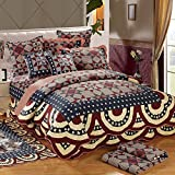 Geometric Patchwork Quilt Coverlet Bedspread Set Queen Size 100% Cotton Reversible Quilt Set Vintage Luxury Bed Quilt Winter Warm Quilt Set for Kids Adults, Ultra Soft, Style3