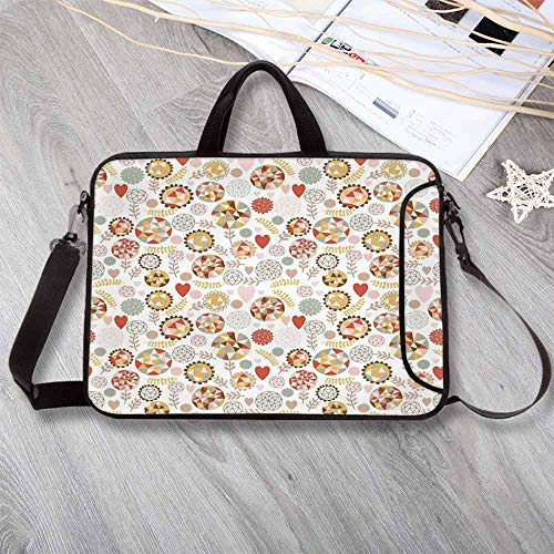 Floral Custom Neoprene Laptop Bag,Geometric Style Blooms with Polygonal Art Triangles and Hexagonal Forms Kids Design Decorative Laptop Bag for Men Women Students,17.3