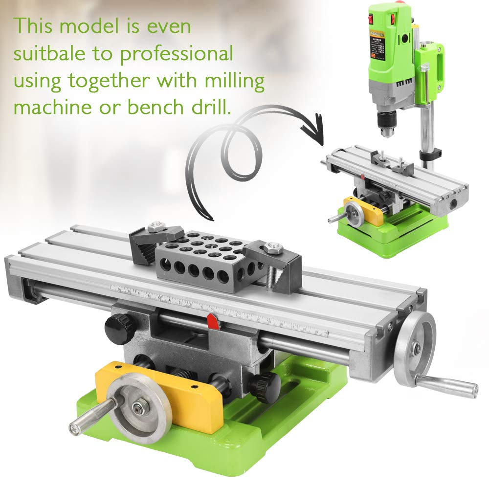 Zitainn Mini Drilling Slide Table,Mini Compound Bench Worktable Milling Working Vise Machine Drilling Slide Table 6350