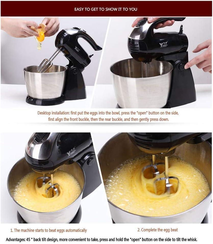 Stand Food Mixer Teigmixer mit Zubehör 3 Liter Edelstahl-Rührschüssel für Brotteig und Backzutaten 300W Leistungsstarker Motor Einfaches Backen 5 Geschwindigkeiten Black