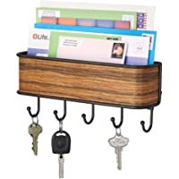 mDesign Modern Mail Holder and Key Rack - Rustproof Steel Wall Mounted Mail Organiser - Mail File in Bronze and Rosewood