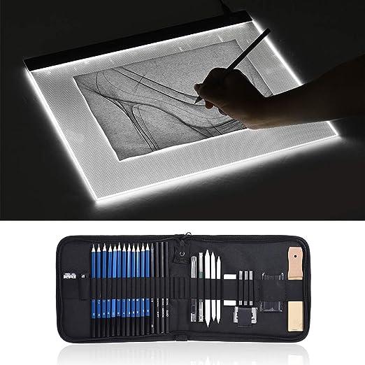 Aibecy A3 Caja de luz de gran tamaño LED Artcraft Tracing Light Pad Almohadilla de protección ocular de atenuación continua + 32pcs / Set Kit de dibujo de dibujo profesional: Amazon.es: Hogar